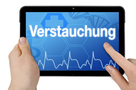 Tablet computer with the german word for sprain - sprain
