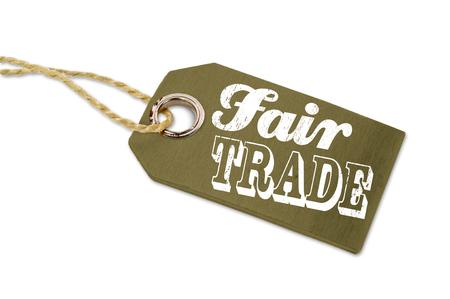Wooden hang tag with fair trade