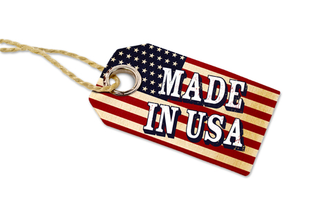 Wooden hang tag with flag made in usa