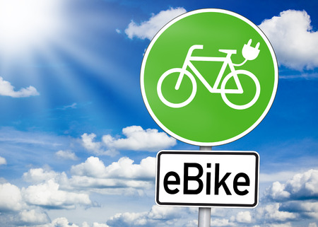 Road sign with e bike