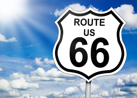 Road sign with route 66 版權商用圖片
