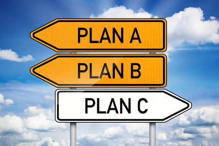 Traffic sign with plan a, plan b and plan c Standard-Bild