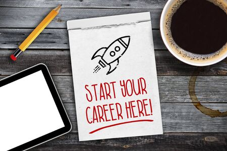 Sketchbook with start your career here, new job
