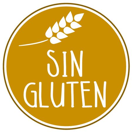 Illustration with the spanish word for gluten free - sin gluten isolated