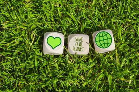 Cubes, dice and black chalkboard with Save our planet and go green Imagens