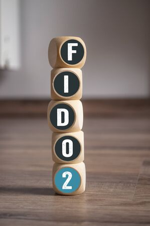 Tower made of cubes and dice with fido2 standard - Fast IDentity Online 版權商用圖片