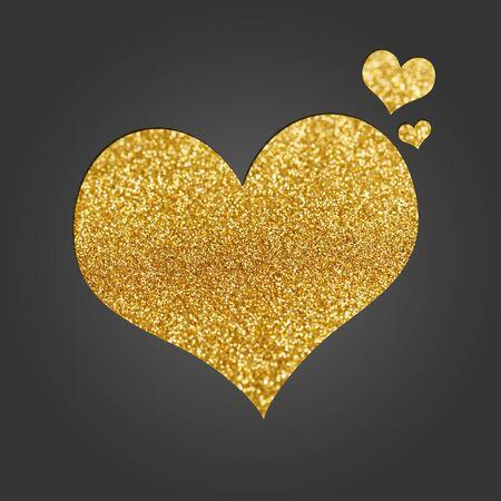 Black invitation card with golden shiny hearts