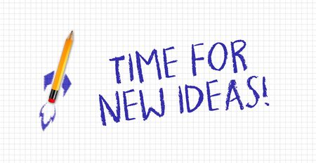 Quad or squared white paper with rocket pencil and message Time for new ideas