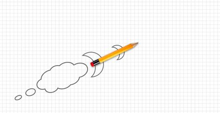 Squared or quad white paper with a pencil rocket metaphor for take off or lift off Banco de Imagens