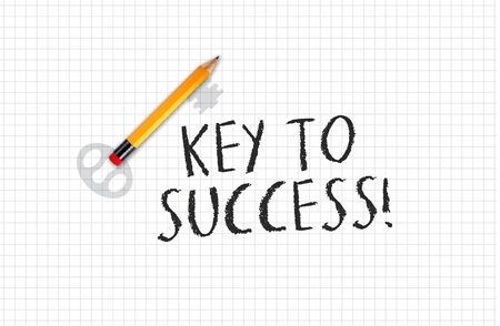 Quad or squared white paper with pencil key and message Key to success