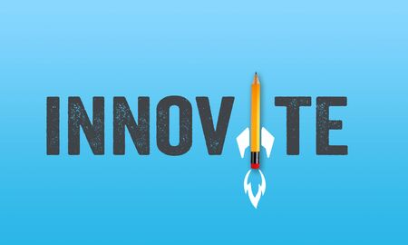 Pencil rocket with word innovate on blue colored background Stock fotó
