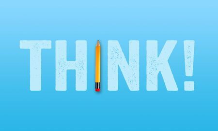 Pencil with word THINK on blue background metaphor for brainstorming Banco de Imagens