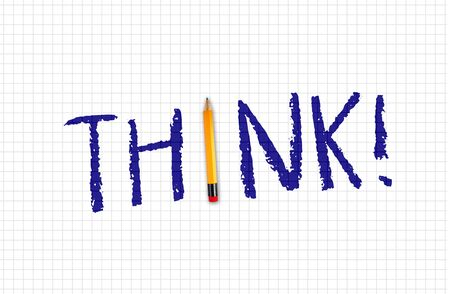 Pencil with word THINK on squared paper background metaphor for brainstorming