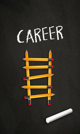 Black chalkboard with pencil ladder and the word career
