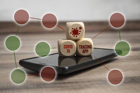 Smartphone with tracking or tracing app and covid-19 corona virus covid-19 Stock fotó