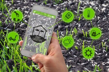 Smartphone with smart farming and smart gardening apps in front of grass seeds