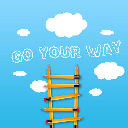 Plane or rocket and pencil ladder with business message Go your way