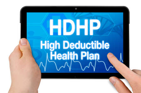 Tablet with medical device showing the acronym HDHP high deductible health plan isolated Archivio Fotografico