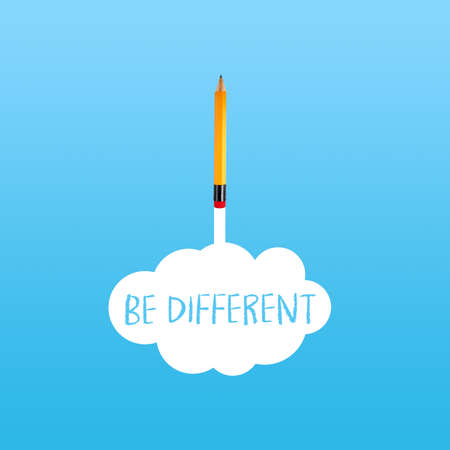 Pencil rocket with white cloud and message Be different on blue background