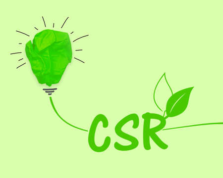 Green paper light bulb with acronym CSR Corporate Social Responsibility on green background Archivio Fotografico