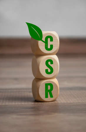 Cubes or dice with acronym CSR Corporate Social Responsibility on wooden background