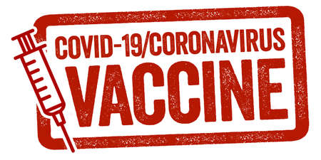 Red stamp with syringe metaphor for vaccination start against covid-19 corona virus and the german translation vaccination