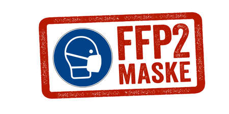Red Stamp with german translation for FFP2 Mask, FFP2 Maske filtering face piece isolated 版權商用圖片