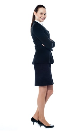 sucessful: Beautiful sucessful businesswoman with folded arms, isolated on white background