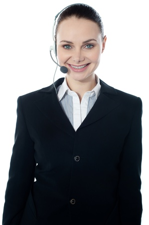 could: Woman wearing headsets, could be receptionist. Isolated over white