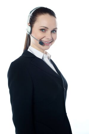 customercare: Telemarketing executive offering product to customer Stock Photo