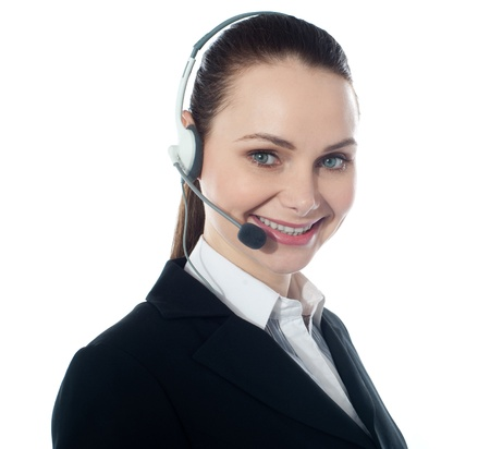 Call centre female executive, closeup  Isolated over white Stock Photo - 13236708