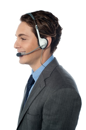 Customer support operator  Man smiling isolated photo