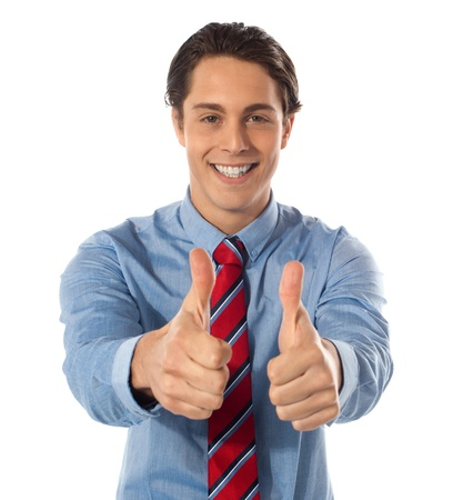 thumbsup: Handsome male executive gesturing thumbs-up