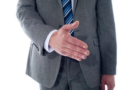 Business deal, close-up shot. Businessman offering handshake photo