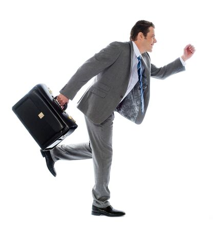 haste: Businessman running with a briefcase, isolated on white background
