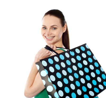 Close-up of happy shopping girl photo
