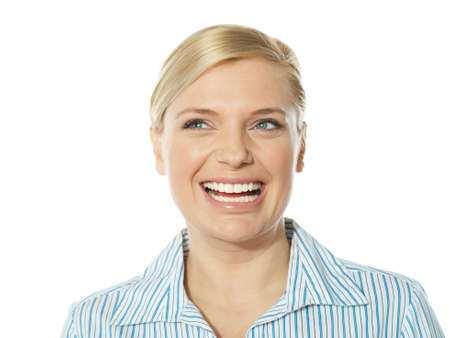 Beautiful smiling young lady looking away, closeup shot Stock Photo - 13217797