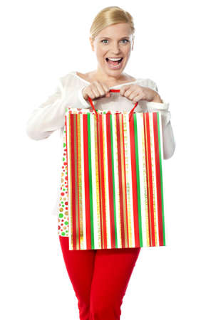 Beautiful happy shopping woman carrying shopping bag Stock Photo - 13217795