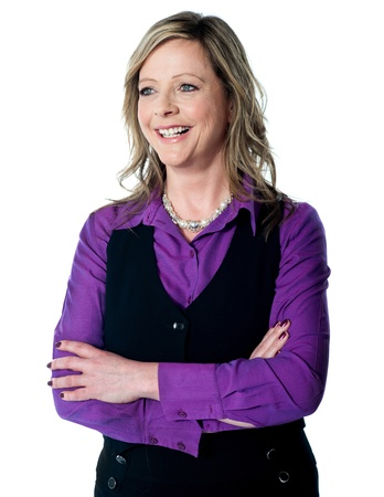 Portrait of beautiful corporate lady posing with folded arms isolated over white Stock Photo - 13236807