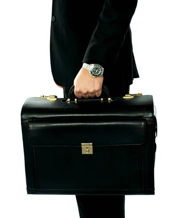 Closeup shot of man holding briefcase  Isolated on white photo
