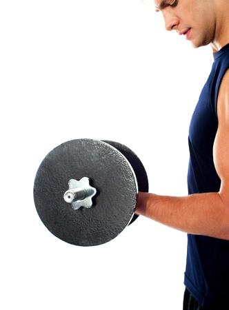 Imagen recortada de un ejercicio físico culturista haciendo el levantamiento de pesas pesadas Presentacion