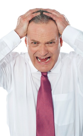 Portrait of caucasian american businessman expressing frustration isolated over white background photo