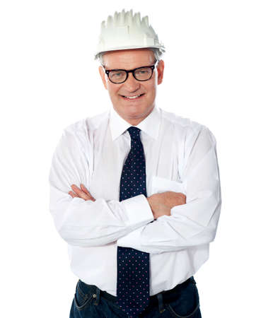 Portrait of happy senior foreman with hard hat  Posing with crossed arms Stock Photo - 13512973
