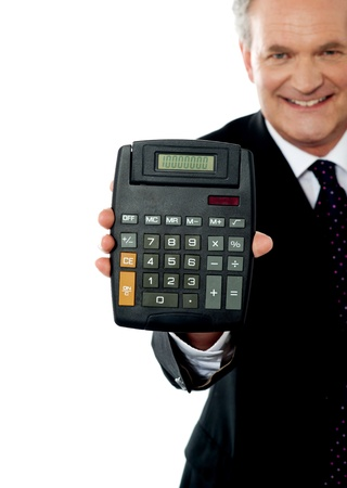 Cropped image of a businessman showing calculator to camera isolated over white photo