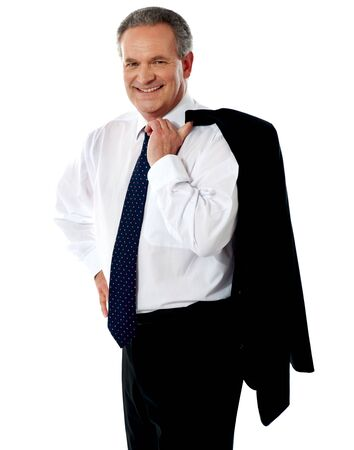 Portrait of senior male executive holding coat over his shoulders isolated against white Stock Photo - 13739099