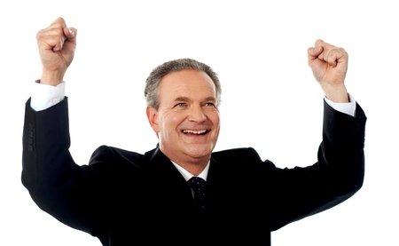 rejoicing: Successful old businessman rejoicing in excitement with arms up