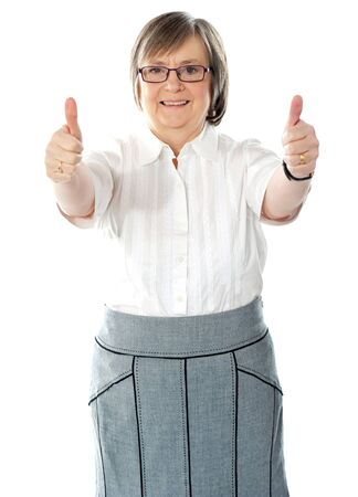 Woman executive showing double thumbs-up isolated on white photo