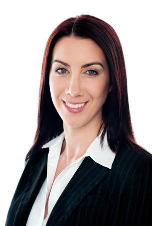Closeup portrait of pretty businesswoman smiling at camera Stock Photo - 14063513