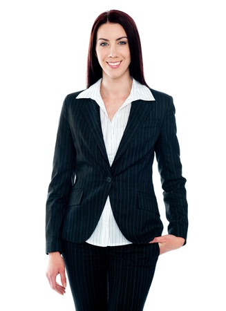Beautiful businesswoman smiling at camera isolated over white background Stock Photo - 14063508