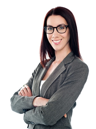 Successful corporate lady posing with folded arms isolated over white Stock Photo - 14043466